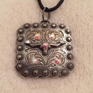 Bull and crystal leather necklace